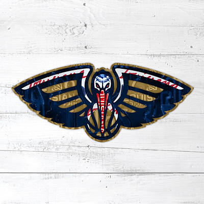 Pelican Mixed Media - New Orleans Pelicans Basketball Team Retro Logo Vintage Recycled Louisiana License Plate Art by Design Turnpike