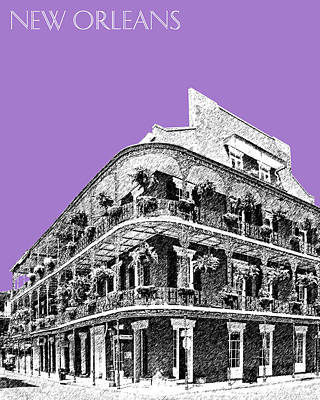 Pen Digital Art - New Orleans Skyline French Quarter - Violet  by DB Artist