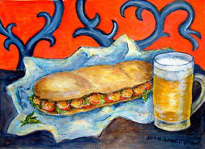 French Fried Painting - New Orleans Poboy by Joan Landry