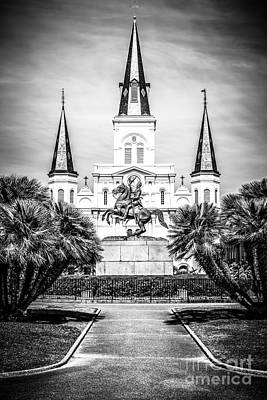 Bronze Horse Photograph - New Orleans St. Louis Cathedral Black And White Picture by Paul Velgos