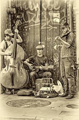 New Orleans Street Musicians - Paint Sepia Print by Steve Harrington