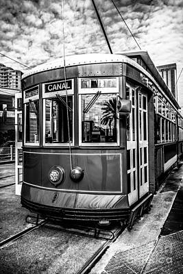 Trolley Photograph - New Orleans Streetcar Black And White Picture by Paul Velgos