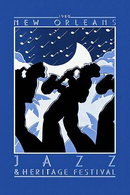 New Moon Drawing - New Orleans Vintage Jazz And Heritage Festival 1980 by Movie Poster Prints