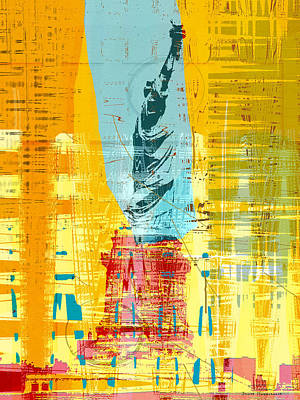 Blue And Red Drawing - New Paint - New York Liberty Statue I by Joost Hogervorst