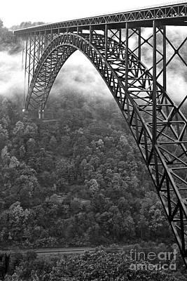 New River Gorge Bridge Black And White Print by Thomas R Fletcher