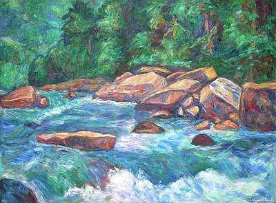 Green Painting - New River Fast Water by Kendall Kessler