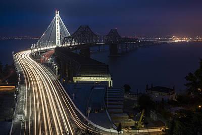 New San Francisco Oakland Bay Bridge Print by Adam Romanowicz