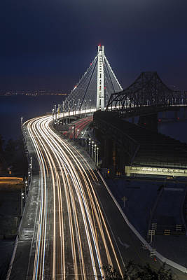 Downtown Area Photograph - New San Francisco Oakland Bay Bridge Vertical by Adam Romanowicz