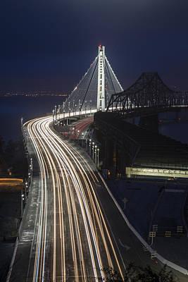 New San Francisco Oakland Bay Bridge Vertical Print by Adam Romanowicz