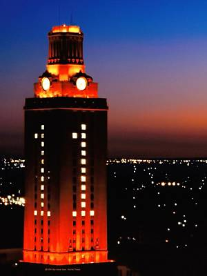 Burnt Orange Photograph - New Version Of The Ut Tower by Gary Dow
