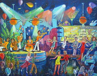Shadow Dancing Painting - New Years Deco-tech Club by Matthew Pinkey