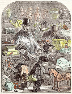 New Years Gifts The Toyshop Jackson Children 1860 Print by English School