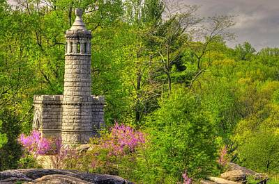 New York At Gettysburg - Monument To 12th / 44th Ny Infantry Regiments-1a Little Round Top Spring Print by Michael Mazaika