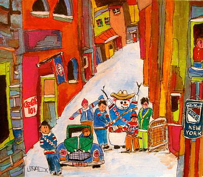 Litvack Naive Painting - New York Back Lane Coaching by Michael Litvack