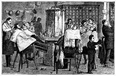 New York: Barbershop, 1882 Print by Granger