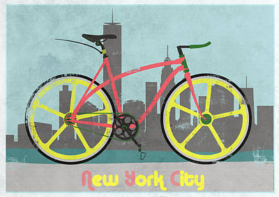 New York Bike Print by Andy Scullion