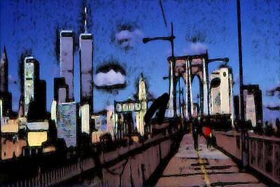 Brooklyn Bridge Drawing - New York Blue - Expressionistic Art by Art America Online Gallery