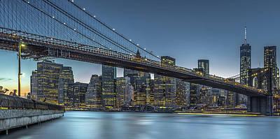 New York - Blue Hour Over Manhattan Print by Michael Jurek