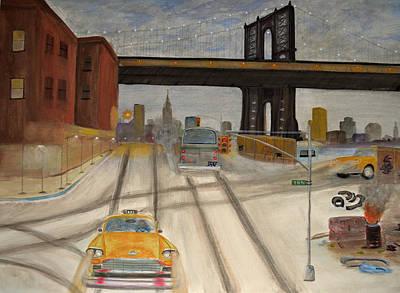 Nyc Skyline Painting - New York City 1950-1960 by Ken Figurski