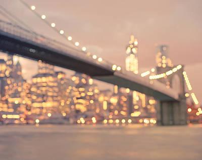 City Photograph - New York City And The Brooklyn Bridge - Night Lights by Vivienne Gucwa