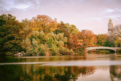 New York City - Autumn - Central Park - Lake And Bow Bridge Print by Vivienne Gucwa