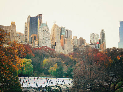 New York City - Autumn In Central Park - Trees And Ice Skating Rink Print by Vivienne Gucwa