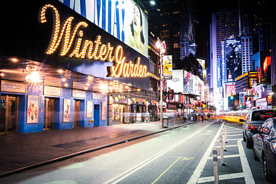 New York City - Broadway Lights And Times Square Print by Vivienne Gucwa