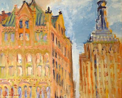 Bryant Painting - New York City Buildings 2 by Edward Ching