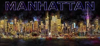 New York City Digital Art - New York City Comes Alive At Sundown by Susan Candelario