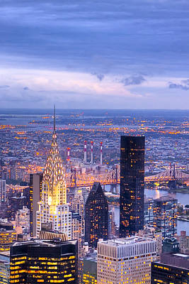 New York City Evening Print by Mark E Tisdale