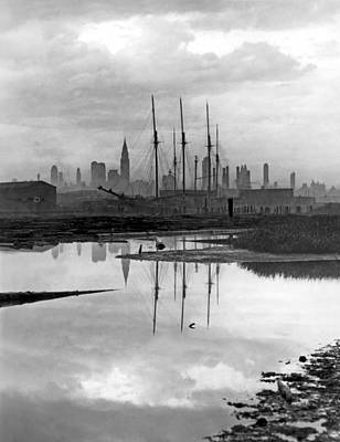 Historic Schooner Photograph - New York City From Long Island by Underwood Archives