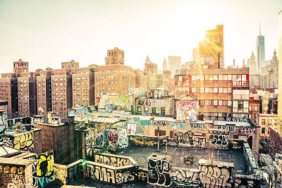 New York City - Graffiti Rooftops Of Chinatown At Sunset Print by Vivienne Gucwa