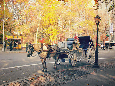 New York City - Horse And Carriage - Autumn Print by Vivienne Gucwa