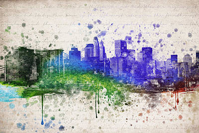 New York City Skyline Mixed Media - New York City In Color by Aged Pixel