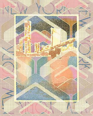Nyc Mixed Media - New York City In Pastel Tones - Manhattan Bridge by Beverly Claire Kaiya