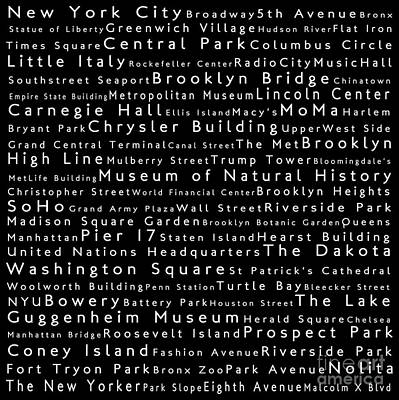 Lincoln Center Digital Art - New York City In Words Black by Sabine Jacobs