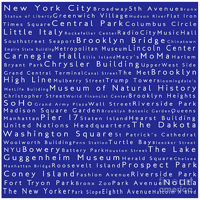Lincoln Center Photograph - New York City In Words Blue by Sabine Jacobs