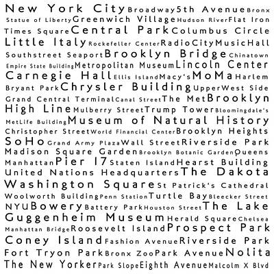 New York City In Words White Print by Sabine Jacobs