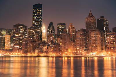 New York City Lights - Skyline At Night Print by Vivienne Gucwa