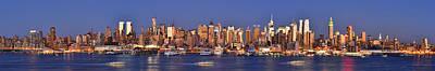 New York City Midtown Manhattan At Dusk Print by Jon Holiday