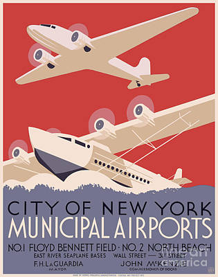 Advertisment Painting - New York City Municipal Airports by WPA poster