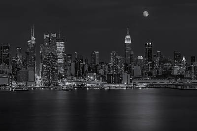 Moon Photograph - New York City Night Lights by Susan Candelario
