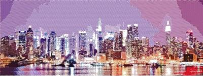 New York City Skyline Drawing - New York City - Parallel Hatching by Samuel Majcen