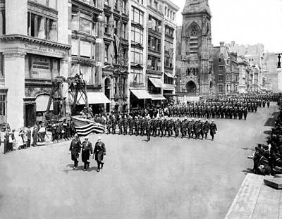 Nypd Photograph - New York City Police In Parade by Underwood Archives