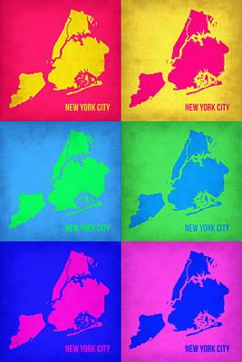 City Map Painting - New York City Pop Art  Map 5 by Naxart Studio