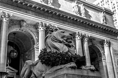 Street Photograph - New York City Public Library Black And White by David Morefield