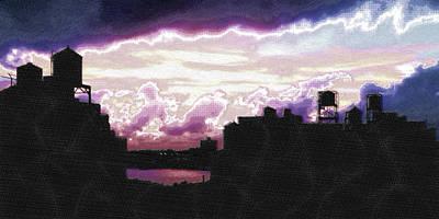 Nyc Mixed Media - New York City Rooftops by Tony Rubino