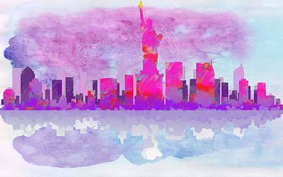 Drippy Digital Art - New York City Silhouette - Hot Pink And Purple by Paulette B Wright