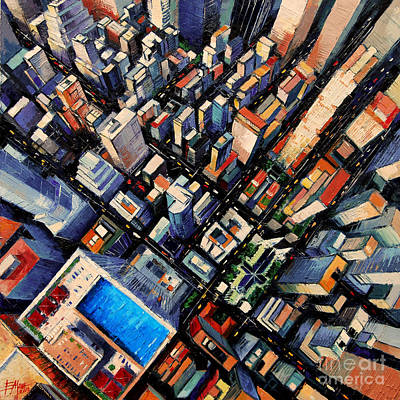 Rooftops Painting - New York City Sky View by Mona Edulesco