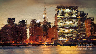 New York City Skyline Abstract 2 Print by Anthony Fishburne